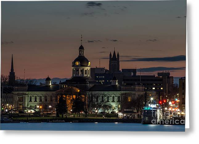 Kingston City Hall Greeting Cards - City Hall At Night Greeting Card by Ron Pettitt