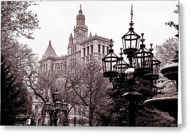 Monochrome Greeting Cards - City Hall Greeting Card by Az Jackson