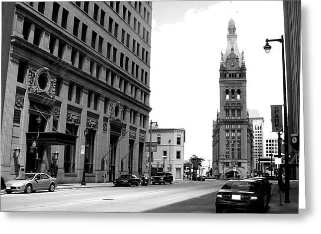 Cityscene Greeting Cards - City Hall b-w Greeting Card by Anita Burgermeister