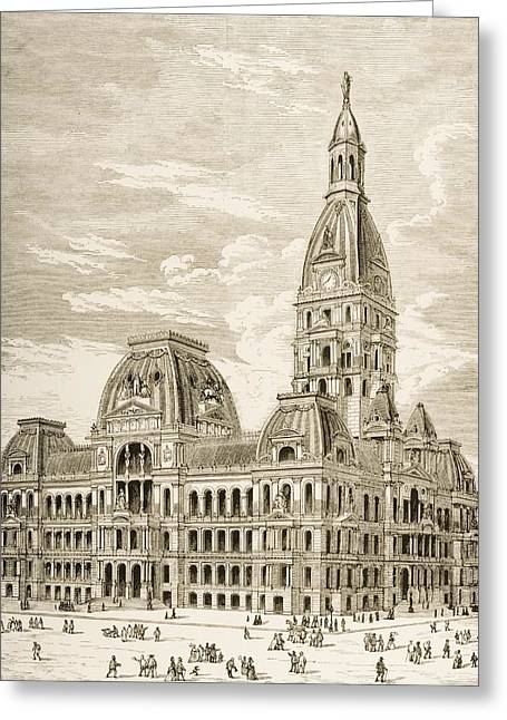 City Hall Drawings Greeting Cards - City Hall, Chicago, Illinois In 1870s Greeting Card by Ken Welsh