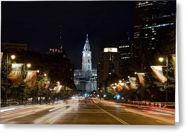 Philadelphia City Hall Greeting Cards - City Hall from the Parkway Greeting Card by Jennifer Lyon