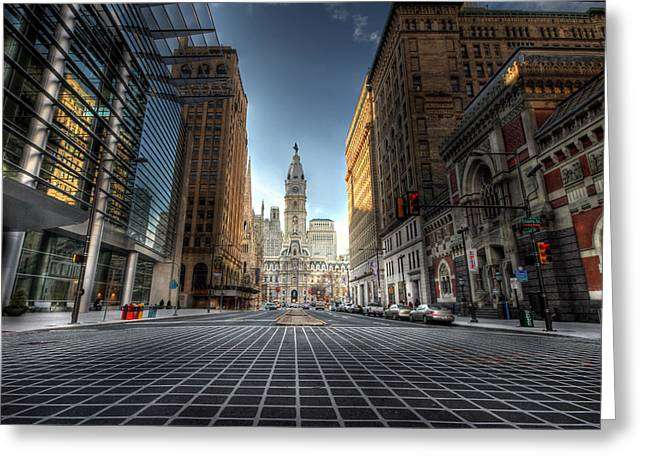 Broad Street Digital Art Greeting Cards - City Hall Greeting Card by Lori Deiter