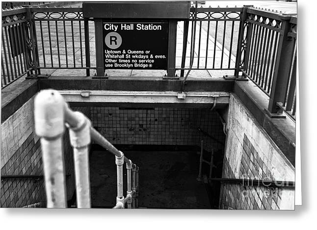City Hall Greeting Cards - City Hall Station mono Greeting Card by John Rizzuto