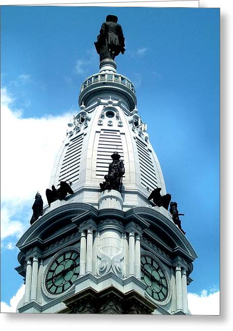 City Hall Greeting Cards - City Hall William Penn Greeting Card by Andrew Dinh
