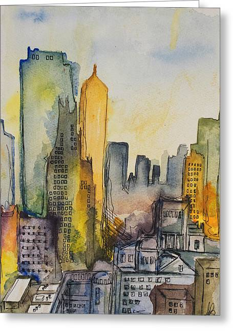 Ink Drawing Greeting Cards - City in Color Greeting Card by Amanda Gay