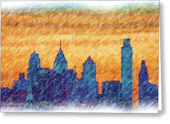 City In Pencil Greeting Card by Thomas  MacPherson Jr