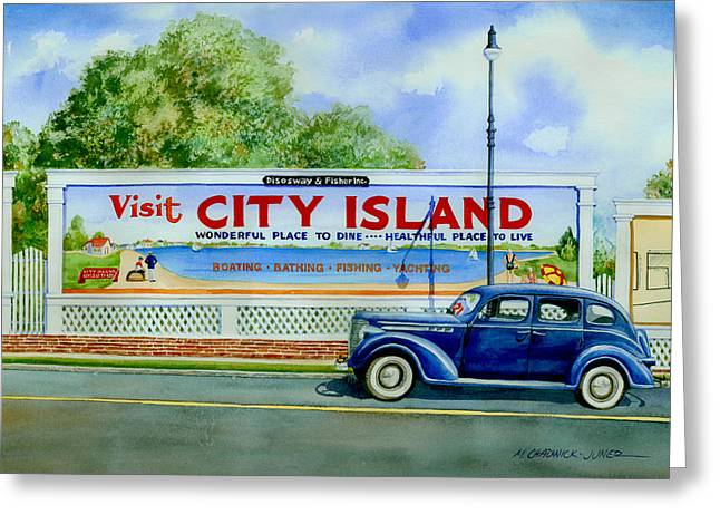 1930s Paintings Greeting Cards - City Island Billboard Greeting Card by Marguerite Chadwick-Juner