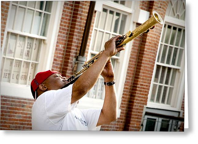 City Jazz Greeting Card by Greg Fortier