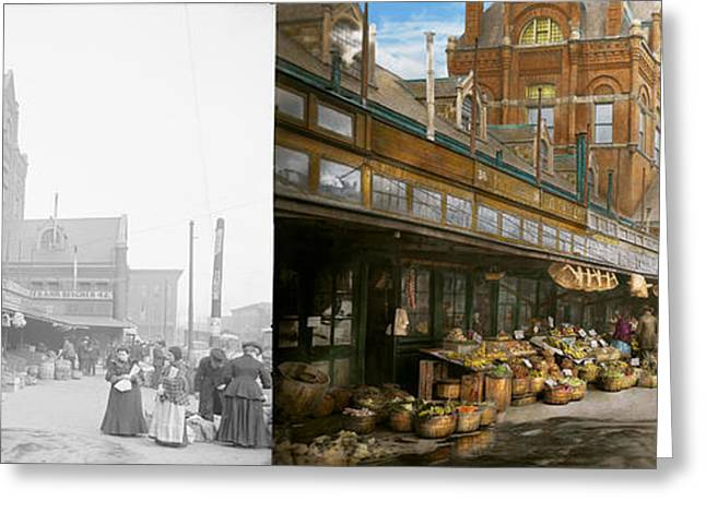 Victorian Greeting Cards - City - Kansas City farmers market - 1906 - Side by side Greeting Card by Mike Savad