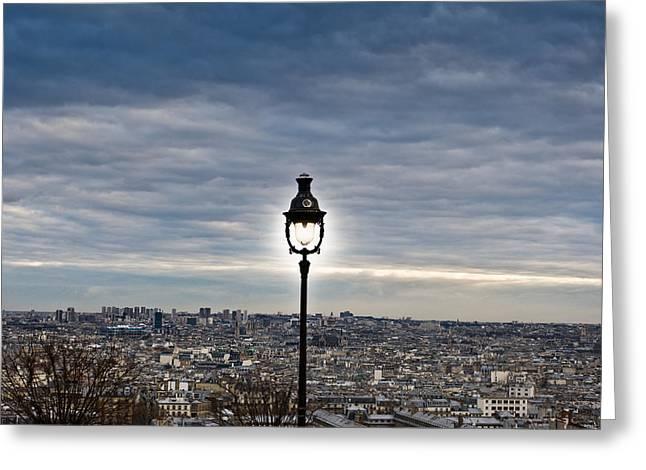 City Lamp Greeting Card by Nila Newsom