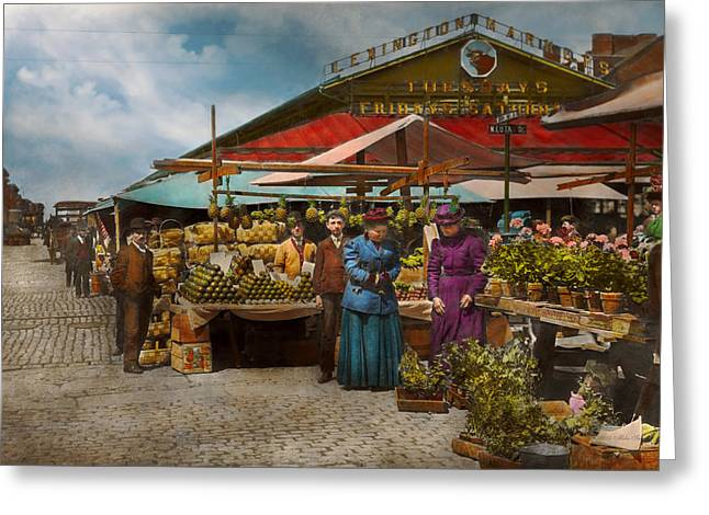 Dress Greeting Cards - City - Lexington market Baltimore Maryland 1890 Greeting Card by Mike Savad