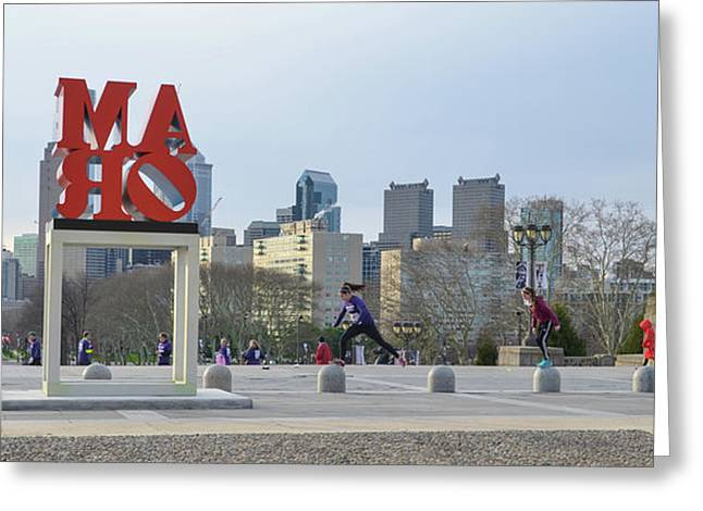 City Life - The Philadelphia Art Museum Greeting Card by Bill Cannon