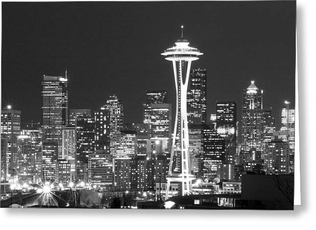 Seattle Landmarks Greeting Cards - City Lights 1 Greeting Card by John Gusky