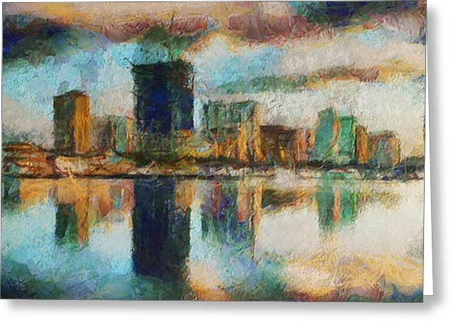 Woman Head Greeting Cards - City Limits - Painting Greeting Card by Sir Josef  Putsche