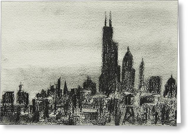 Chicago Drawings Greeting Cards - City Love I Greeting Card by Rachel Christine Nowicki