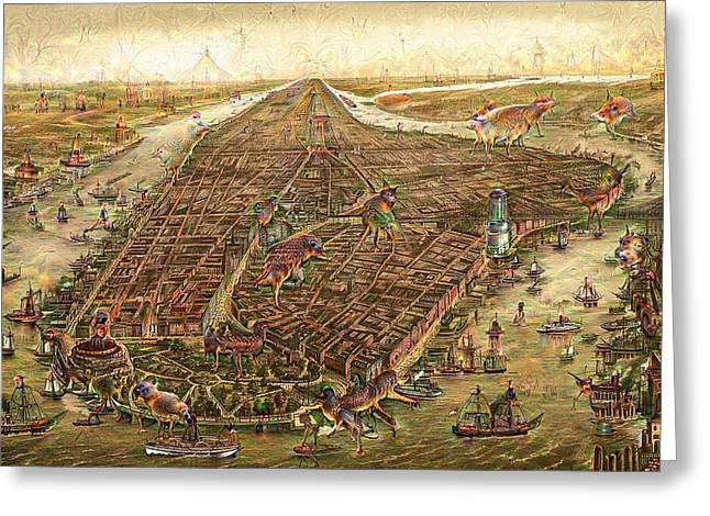1870 Mixed Media Greeting Cards - City map New York Manhattan 1870 Deep Dream Greeting Card by Matthias Hauser