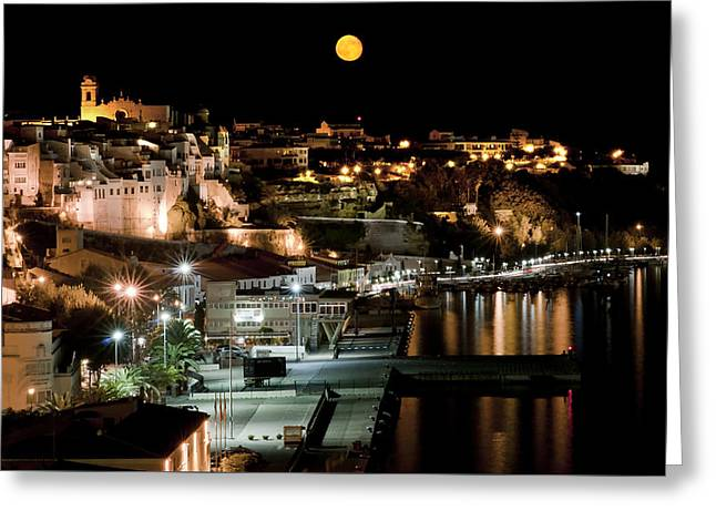 Dream Scape Greeting Cards - city moon - Mahon town in Menorca island under the magic light Greeting Card by Pedro Cardona