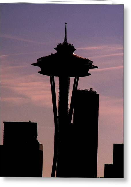 Seattle Washington Greeting Cards - City Needle Greeting Card by Tim Allen