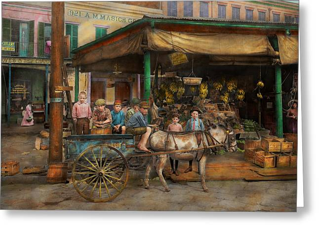 Brotherhood Greeting Cards - City - New Orleans LA - Frankie and the boys 1910 Greeting Card by Mike Savad