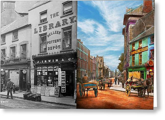 City - Newry Ireland - The Charm Of A City 1902 - Side By Side Greeting Card by Mike Savad
