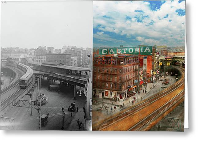 City - Ny - Chatham Square 1900 - Side By Side Greeting Card by Mike Savad
