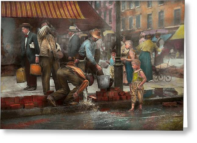 Colorization Greeting Cards - City - NY - Drinking water from a street pump 1910 Greeting Card by Mike Savad