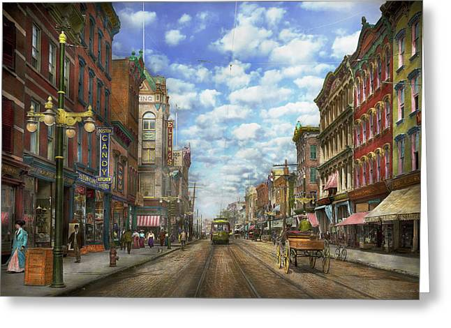 Person Greeting Cards - City - NY - Main Street - Poughkeepsie NY - 1906 Greeting Card by Mike Savad