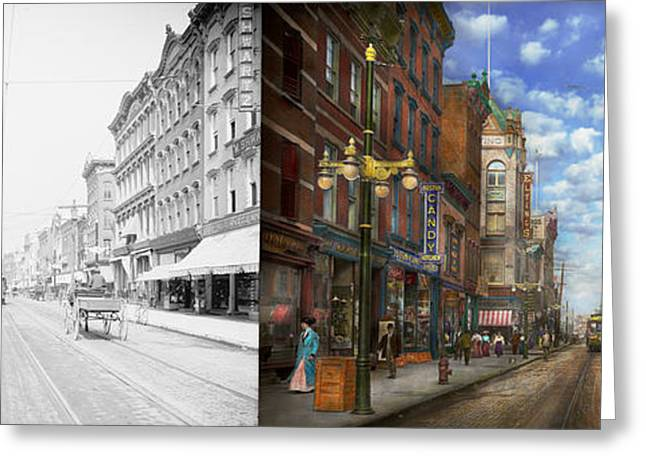 Victorian Greeting Cards - City - NY - Main Street Poughkeepsie NY - 1906 - Side by side Greeting Card by Mike Savad
