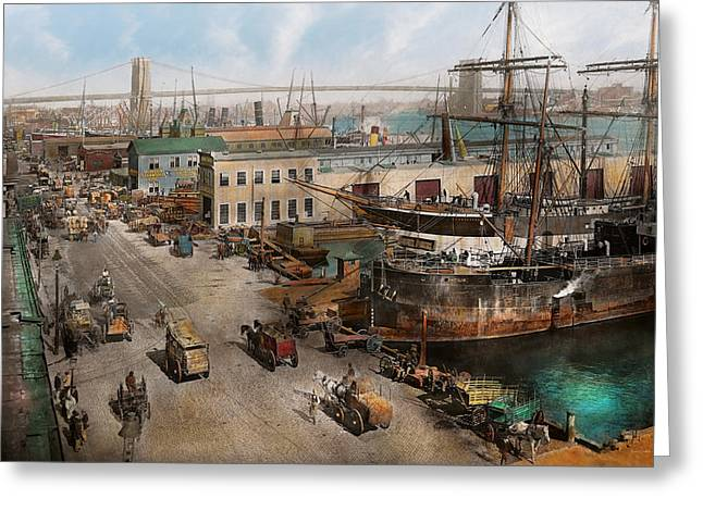 Tall Ships Greeting Cards - City - NY - South Street Seaport - 1901 Greeting Card by Mike Savad