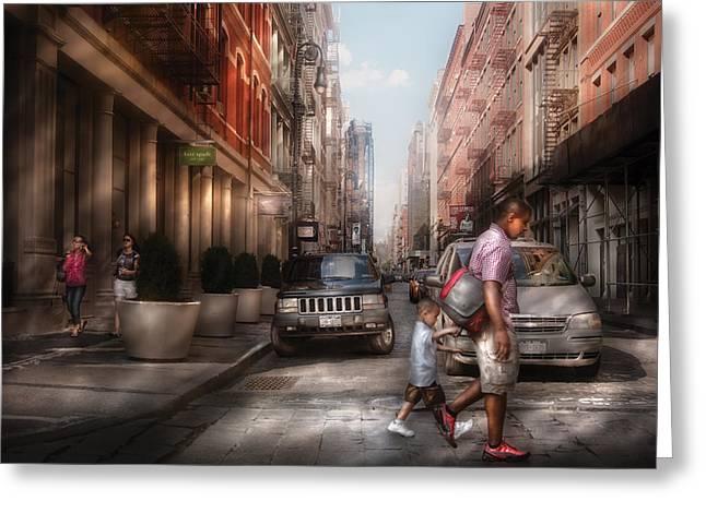 City - NY - Walking down Mercer Street Greeting Card by Mike Savad
