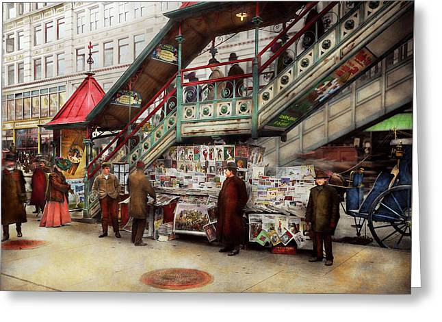 City - Ny - Want A Paper Mister 1903 Greeting Card by Mike Savad