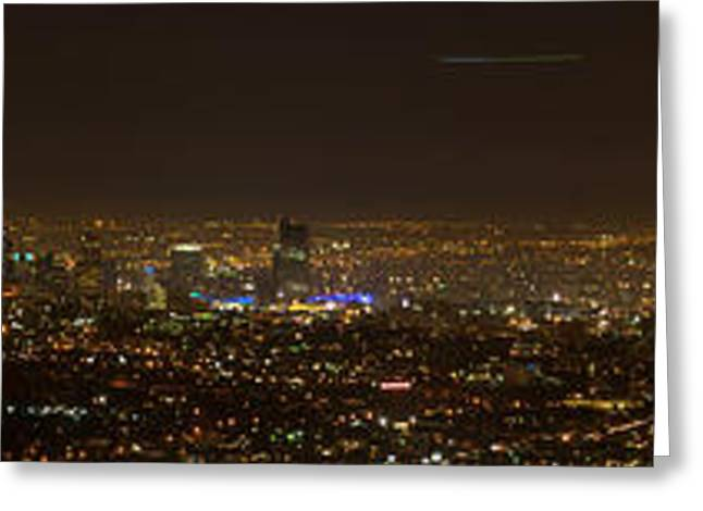 Nightshots Greeting Cards - City of Angels Panorama Greeting Card by Brad Scott
