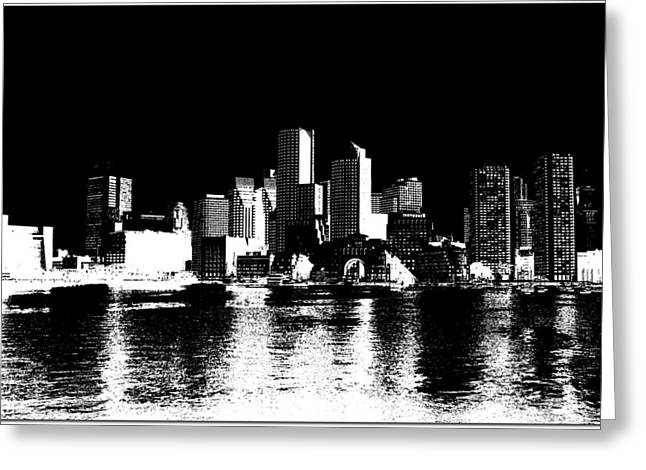 City Of Boston Skyline   Greeting Card by Enki Art