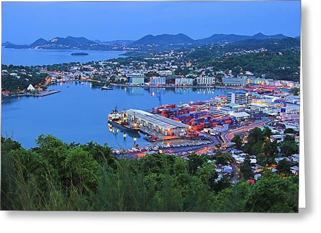 St Lucia Greeting Cards - City of Castries-St Lucia Greeting Card by Chester Williams