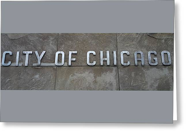 City Of Chicago Sign Greeting Card by Britten Adams