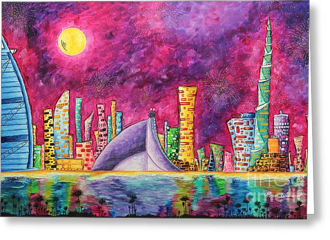 Licensor Greeting Cards - City of Dubai PoP Art Original Luxe Life Painting by MADART Greeting Card by Megan Duncanson