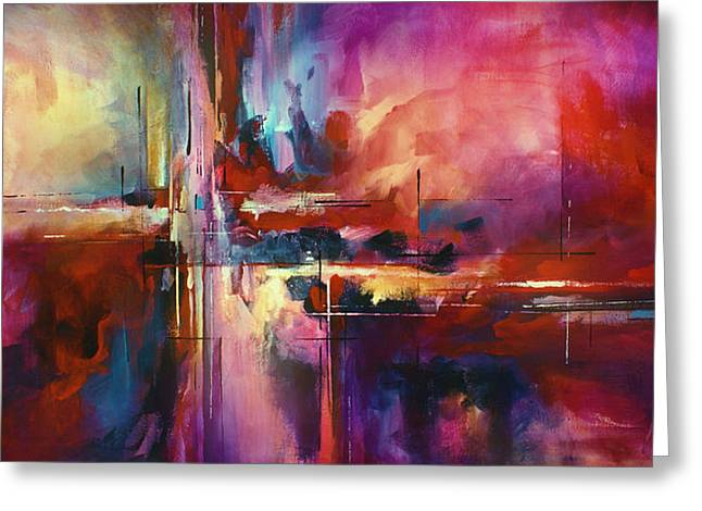Purple Abstract Greeting Cards - CITY of FIRE Greeting Card by Michael Lang