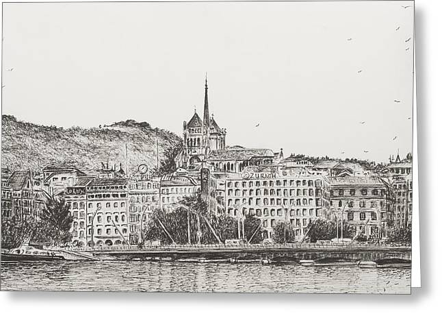 Switzerland Drawings Greeting Cards - City of Geneva Greeting Card by Vincent Alexander Booth