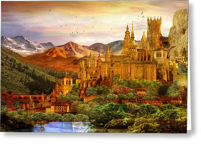 Mythical Landscape Greeting Cards - City of Gold Greeting Card by Karen H