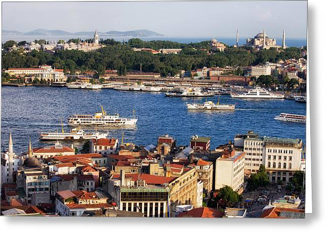 City Of Istanbul Cityscape In Turkey Greeting Card by Artur Bogacki