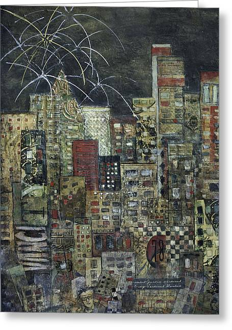 Fireworks Mixed Media Greeting Cards - City of LIght Greeting Card by Barb Pearson