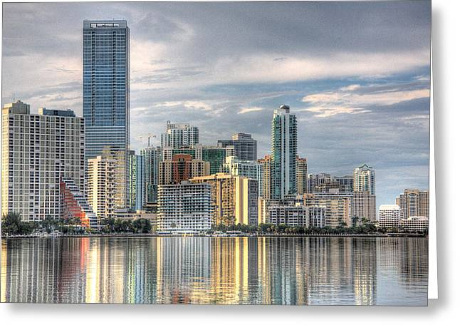 Urban Buildings Greeting Cards - City of Miami Greeting Card by William Wetmore
