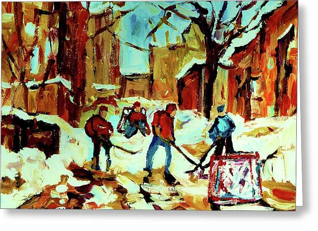 Montreal Hockey Scenes Greeting Cards - City Of Montreal Hockey Our National Pastime Greeting Card by Carole Spandau