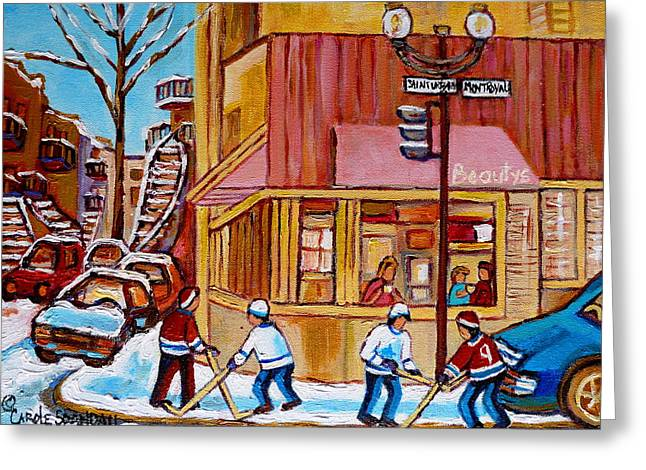 Montreal Hockey Scenes Greeting Cards - City Of Montreal St. Urbain And Mont Royal Beautys With Hockey Greeting Card by Carole Spandau