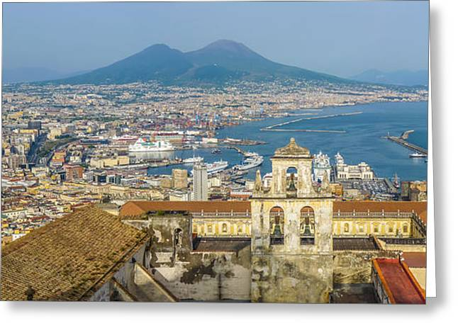 Historic Architecture Greeting Cards - City of Naples with Mt. Vesuvius at sunset, Campania, Italy Greeting Card by JR Photography