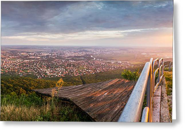 Outlook Greeting Cards - City of Nitra from Above at Sunset Greeting Card by Karol Czinege