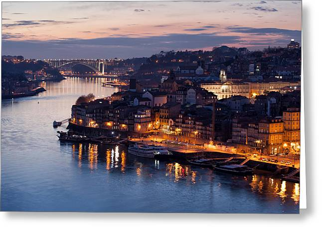 Tourist Site Greeting Cards - City of Porto in Portugal at Dusk Greeting Card by Artur Bogacki