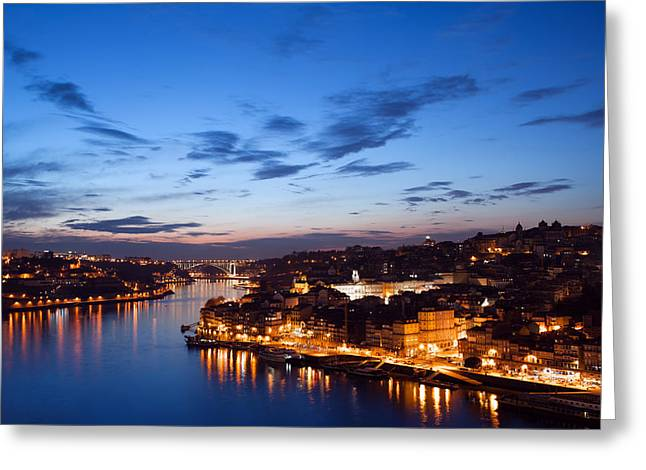 Tourist Site Greeting Cards - City of Porto in Portugal at Twilight Greeting Card by Artur Bogacki
