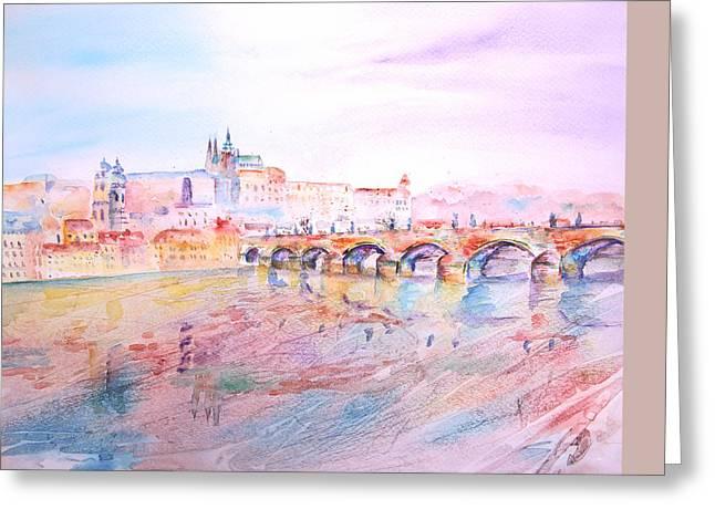 Prague Paintings Greeting Cards - City of Prague Greeting Card by Elizabeth Lock