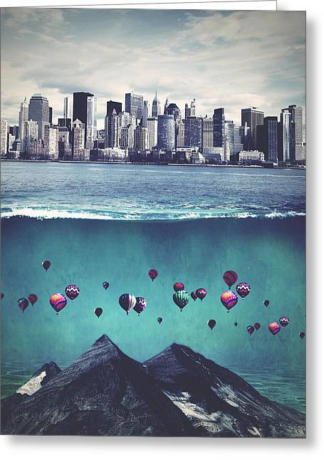 Surreal Digital Art Greeting Cards - City on the water Greeting Card by Mihaela Pater